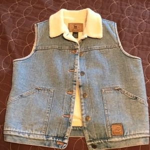 Lauren Jeans Co. faux Sherpa denim vest petite